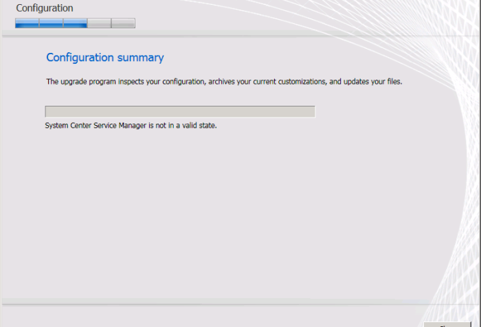 Upgrade wizard SCSM SP1 - System Center Service Manager is not in a valid state.