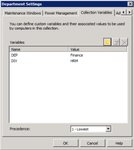 Both Division and Department variables are configured on a single collection where the clients are member off.