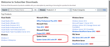 The eagle has landed… System Center 2012 SP1 available for