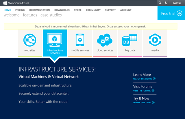 Windows Azure Infrastructure Services General Available