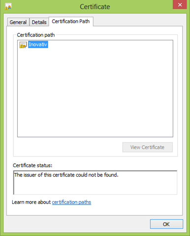 Property Dialog For Certificate