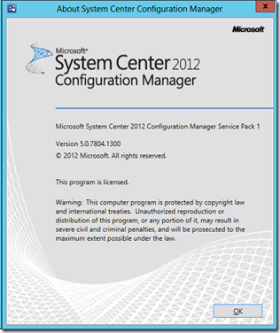 Configuration Manager 2012 SP1 CU2 – version 5.0.7804.1300