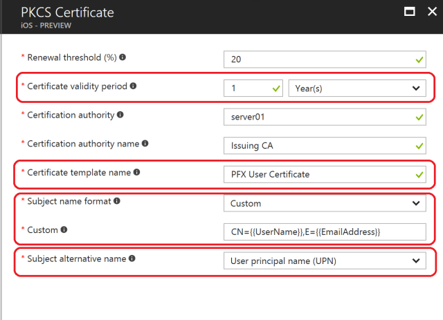 Part 2 deploying microsoft intune connector in an enterprise world kspsetting certificatestorelocation templatename subjectnameformat subjectalternativenameformat certificatevalidityperiod pfx2profileios yelopaper