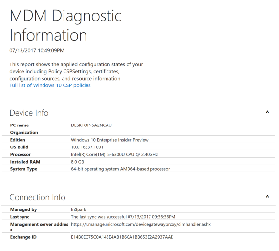Base MDM Diagnostic Information