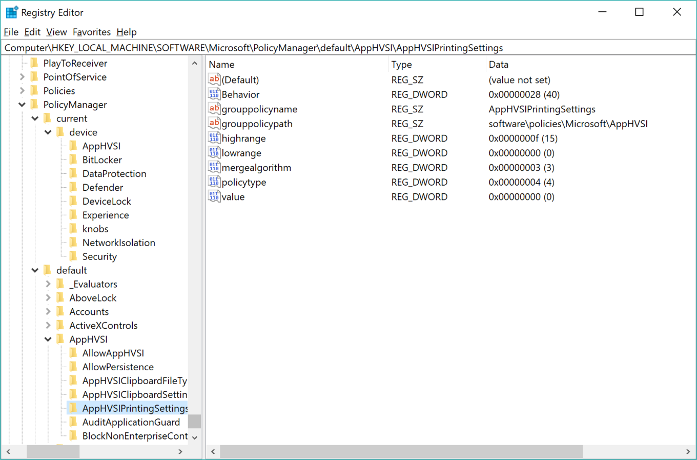 PolicyManager MDM Group Policy