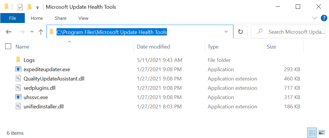 Tools microsoft update health